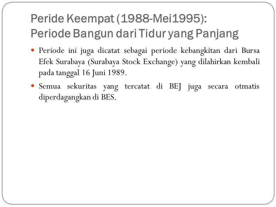 Peride Keempat (1988-Mei1995): Periode Bangun dari Tidur yang Panjang  Periode ini juga dicatat sebagai periode kebangkitan dari Bursa Efek Surabaya
