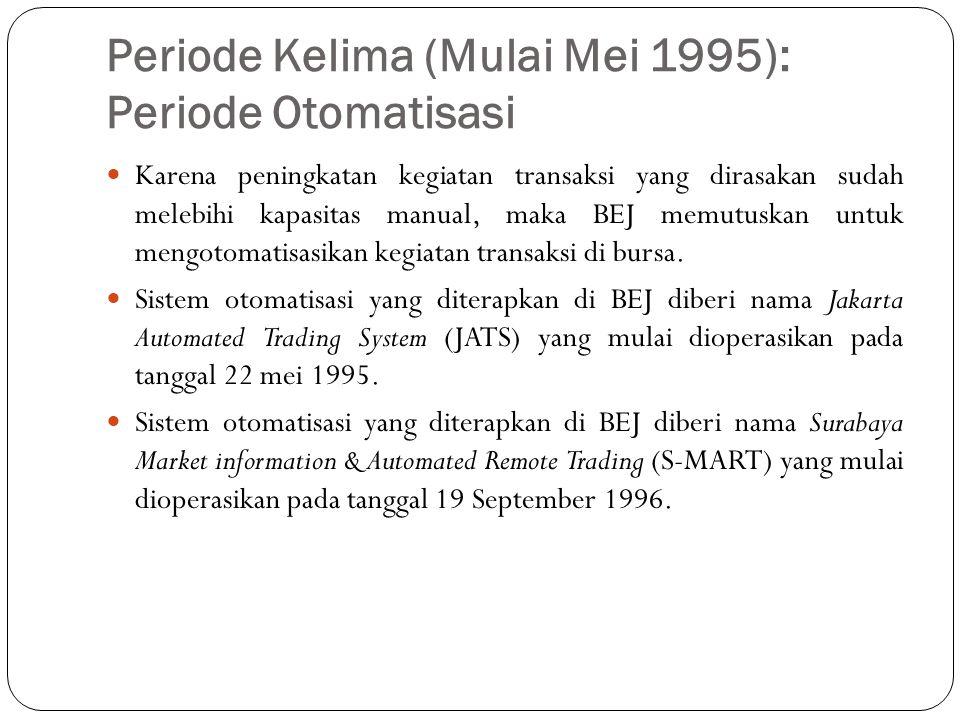 Periode Kelima (Mulai Mei 1995): Periode Otomatisasi  Karena peningkatan kegiatan transaksi yang dirasakan sudah melebihi kapasitas manual, maka BEJ