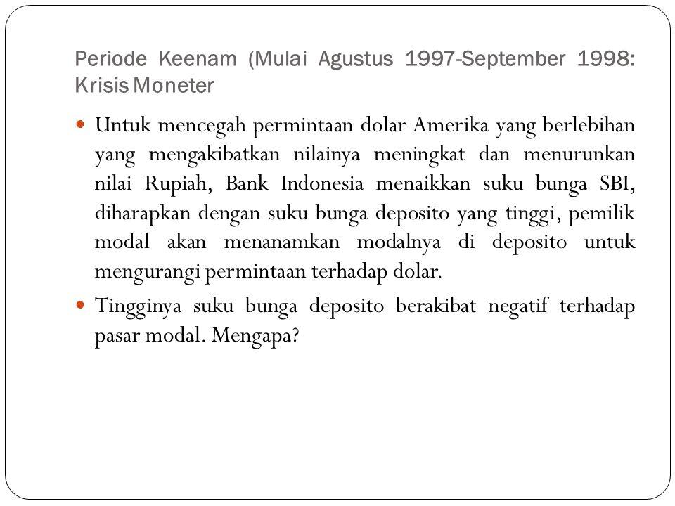 Periode Keenam (Mulai Agustus 1997-September 1998: Krisis Moneter  Untuk mencegah permintaan dolar Amerika yang berlebihan yang mengakibatkan nilainy