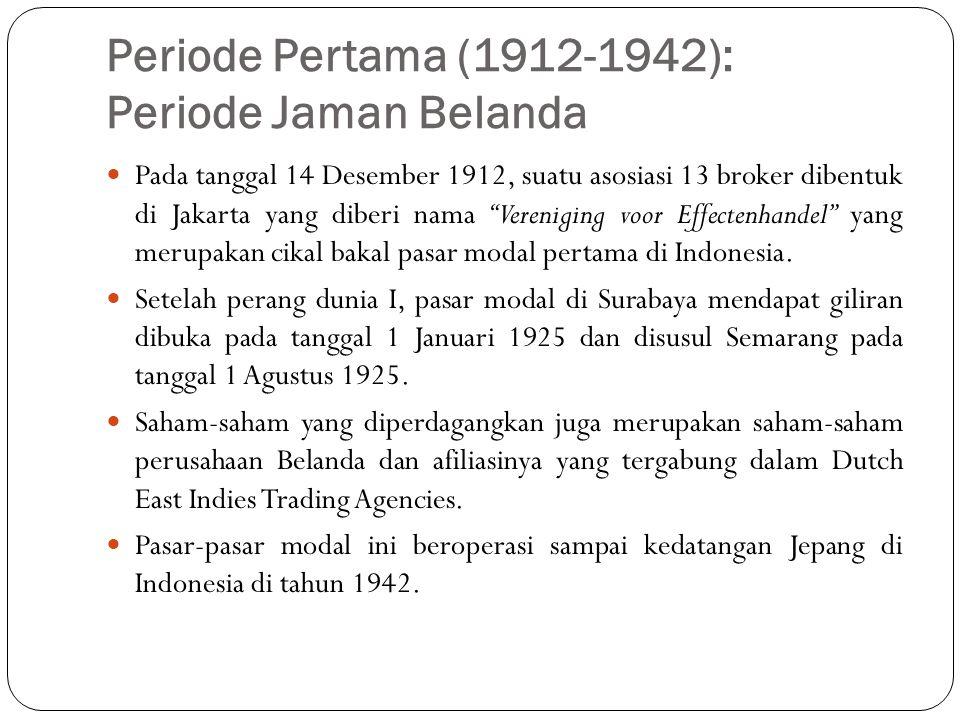 """Periode Pertama (1912-1942): Periode Jaman Belanda  Pada tanggal 14 Desember 1912, suatu asosiasi 13 broker dibentuk di Jakarta yang diberi nama """"Ver"""