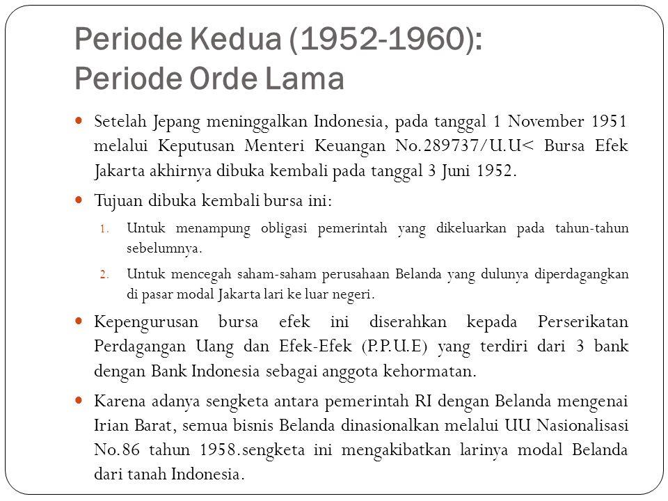 Periode Kedua (1952-1960): Periode Orde Lama  Setelah Jepang meninggalkan Indonesia, pada tanggal 1 November 1951 melalui Keputusan Menteri Keuangan