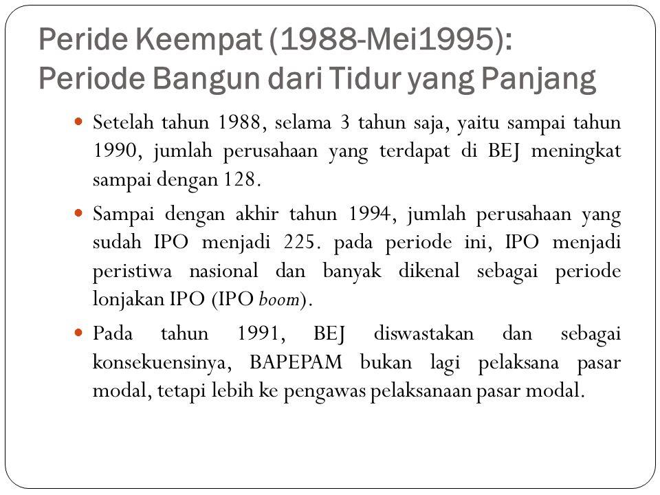 Peride Keempat (1988-Mei1995): Periode Bangun dari Tidur yang Panjang Peningkatan di pasar modal ini disebabkan oleh: 1.