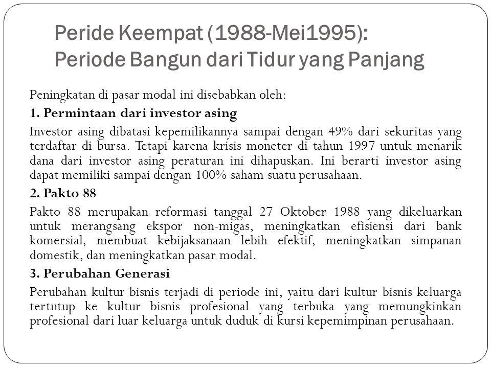 Peride Keempat (1988-Mei1995): Periode Bangun dari Tidur yang Panjang Peningkatan di pasar modal ini disebabkan oleh: 1. Permintaan dari investor asin