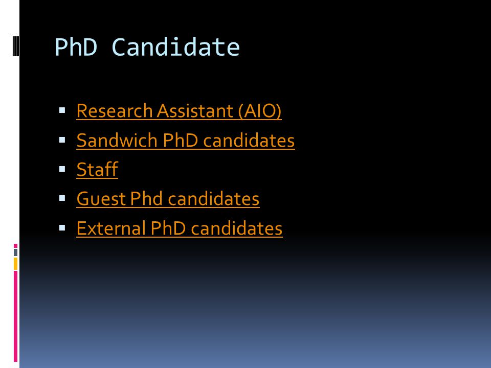 PhD Candidate  Research Assistant (AIO) Research Assistant (AIO)  Sandwich PhD candidates Sandwich PhD candidates  Staff Staff  Guest Phd candidates Guest Phd candidates  External PhD candidates External PhD candidates