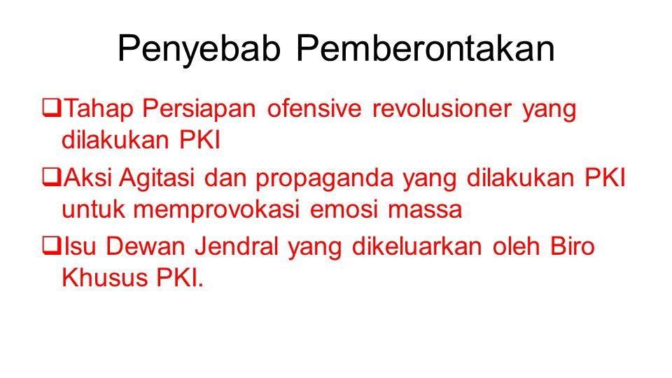 Penyebab Pemberontakan  Tahap Persiapan ofensive revolusioner yang dilakukan PKI  Aksi Agitasi dan propaganda yang dilakukan PKI untuk memprovokasi