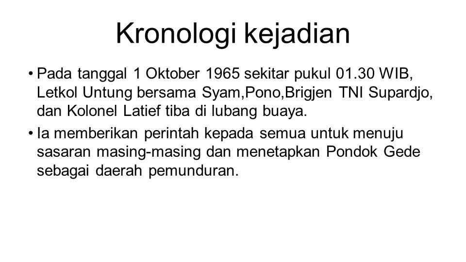 Kronologi kejadian •Pada tanggal 1 Oktober 1965 sekitar pukul 01.30 WIB, Letkol Untung bersama Syam,Pono,Brigjen TNI Supardjo, dan Kolonel Latief tiba