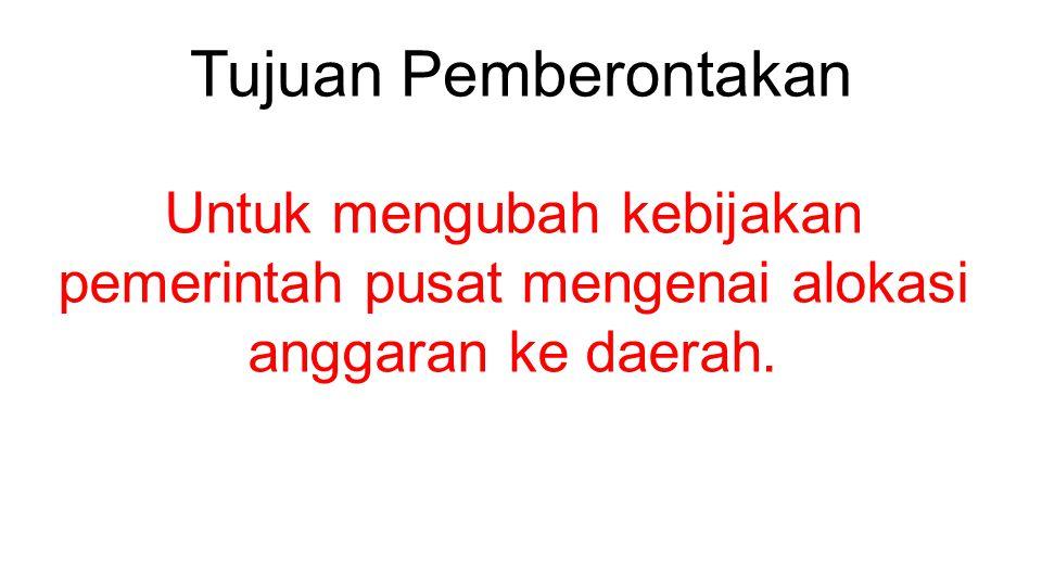 Penyebab Pemberontakan #1 Beberapa daerah di provinsi Sulawesi tidak puas dengan alokasi anggaran pembangunan yang diterima dari pusat.