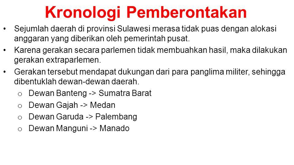 Kronologi Pemberontakan •Sejumlah daerah di provinsi Sulawesi merasa tidak puas dengan alokasi anggaran yang diberikan oleh pemerintah pusat. •Karena