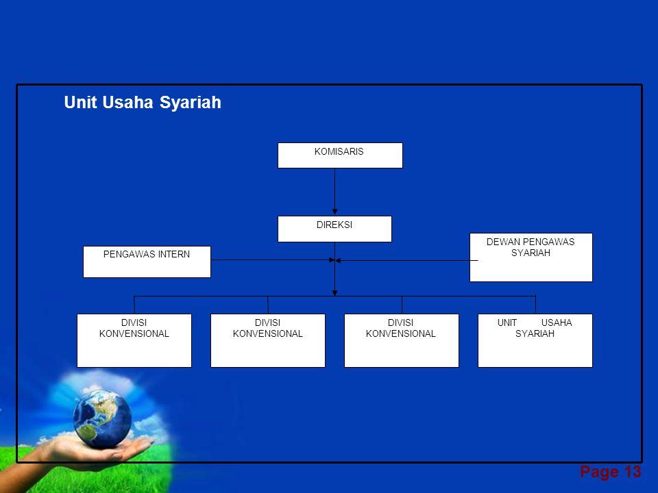 Page 12 STRUKTUR ORGANISASI PERBANKAN SYARIAH Bank Syariah Seutuhnya KOMISARIS PENGAWAS INTERN DEWAN PENGAWAS SYARIAH DIREKSI DIVISI