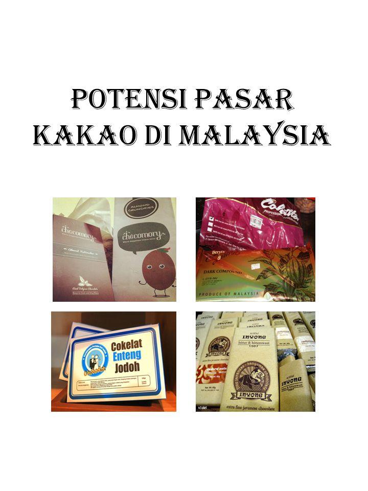 Fakta KAKAO • Meskipun biji kakao asal Indonesia memiliki kontribusi sebesar 41.03%, namun pada umumnya perusahaan coklat asal Malaysia tidak akan menyingung hal tersebut dan lebih senang mengatakan bahwa cokelat miliknya terbuat dari biji kako asal Ghana, Pantai Gading atau Swiss.