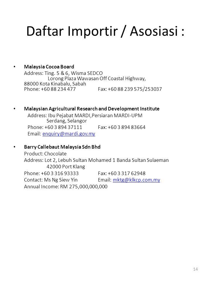 14 Daftar Importir / Asosiasi : • Malaysia Cocoa Board Address: Ting. 5 & 6, Wisma SEDCO Lorong Plaza Wawasan Off Coastal Highway, 88000 Kota Kinabalu