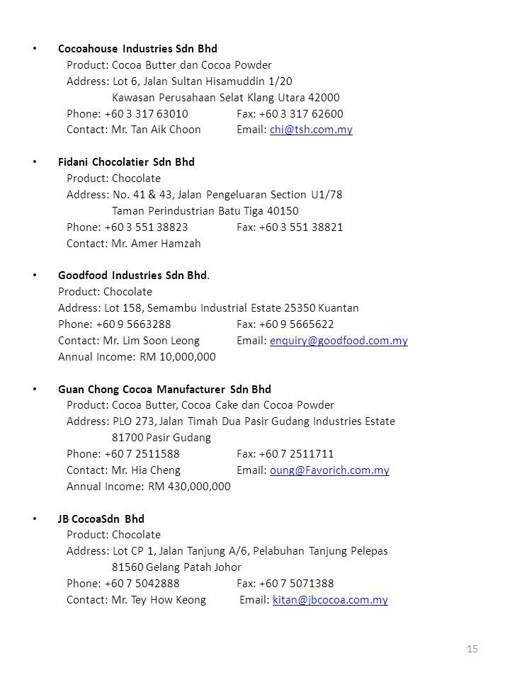 15 • Cocoahouse Industries Sdn Bhd Product: Cocoa Butter dan Cocoa Powder Address: Lot 6, Jalan Sultan Hisamuddin 1/20 Kawasan Perusahaan Selat Klang