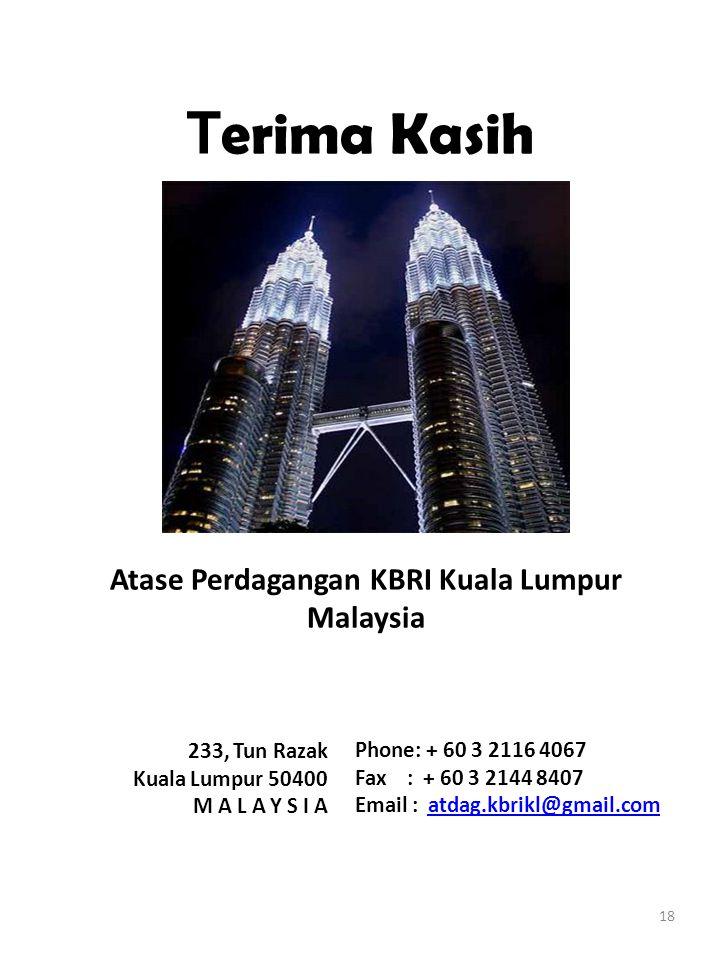 18 T erima Kasih 233, Tun Razak Kuala Lumpur 50400 M A L A Y S I A Phone: + 60 3 2116 4067 Fax : + 60 3 2144 8407 Email : atdag.kbrikl@gmail.comatdag.