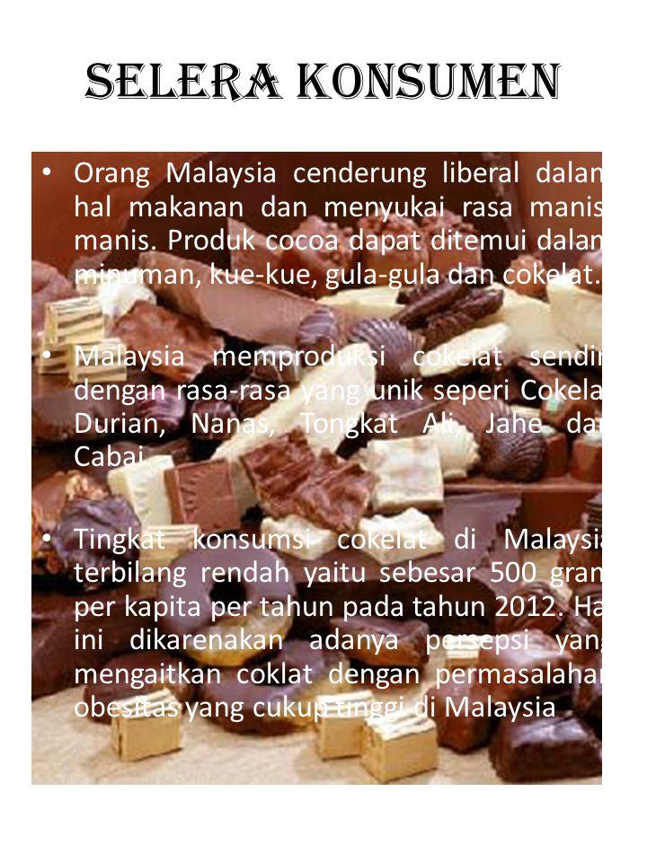 SELERA KONSUMEN • Orang Malaysia cenderung liberal dalam hal makanan dan menyukai rasa manis- manis. Produk cocoa dapat ditemui dalam minuman, kue-kue
