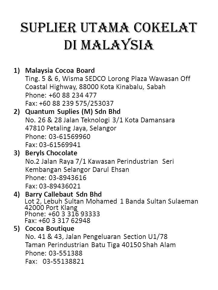 SUPLIER UTAMA COKELAT DI MALAYSIA 1)Malaysia Cocoa Board Ting. 5 & 6, Wisma SEDCO Lorong Plaza Wawasan Off Coastal Highway, 88000 Kota Kinabalu, Sabah