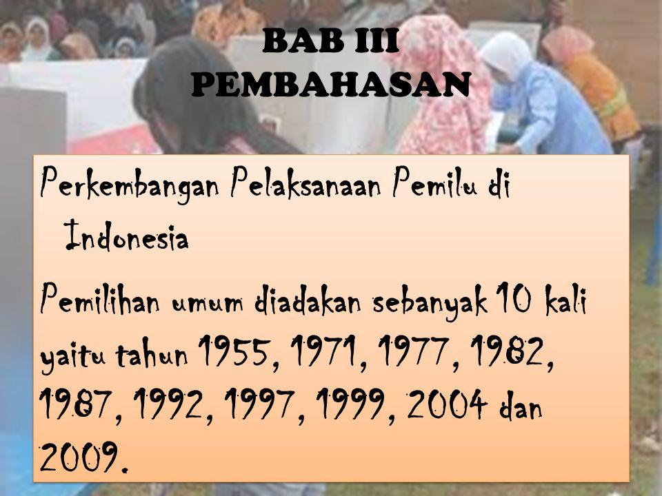 Pelaksanaan Pemilu di Indonesia menggunakan sistem proposional dan sistem distrik serta didasarkan pada landasan berikut ini : 1.