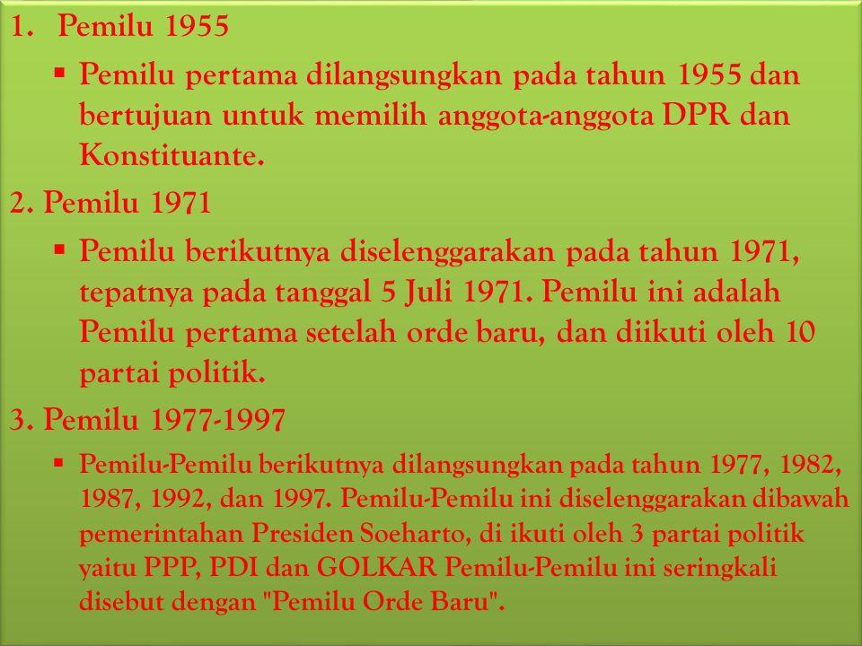 BAB III PEMBAHASAN Perkembangan Pelaksanaan Pemilu di Indonesia Pemilihan umum diadakan sebanyak 10 kali yaitu tahun 1955, 1971, 1977, 1982, 1987, 1992, 1997, 1999, 2004 dan 2009.
