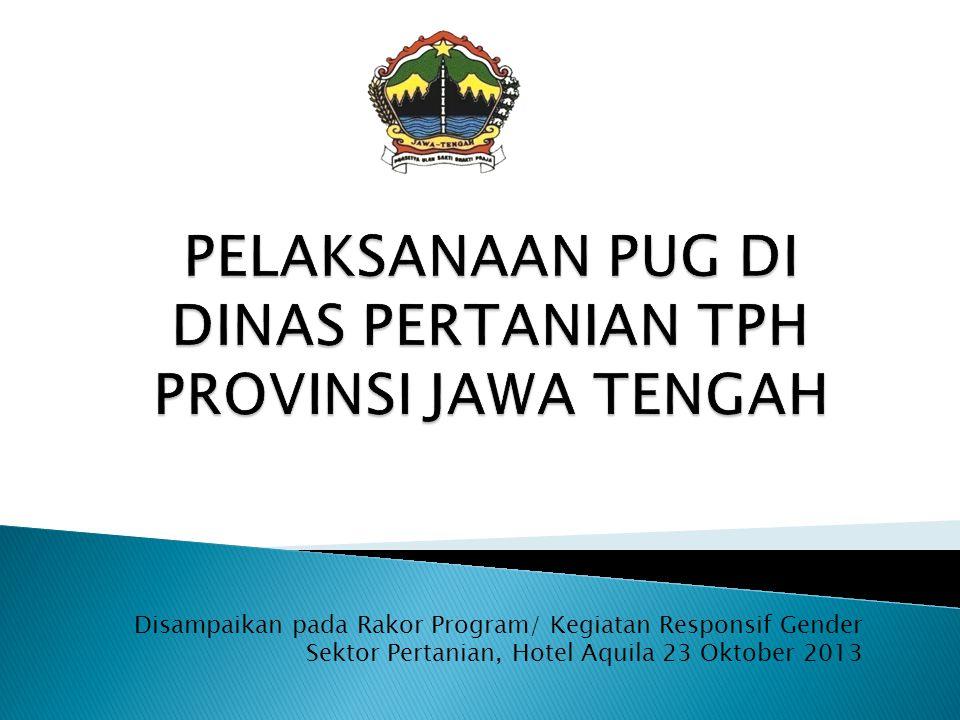 Disampaikan pada Rakor Program/ Kegiatan Responsif Gender Sektor Pertanian, Hotel Aquila 23 Oktober 2013