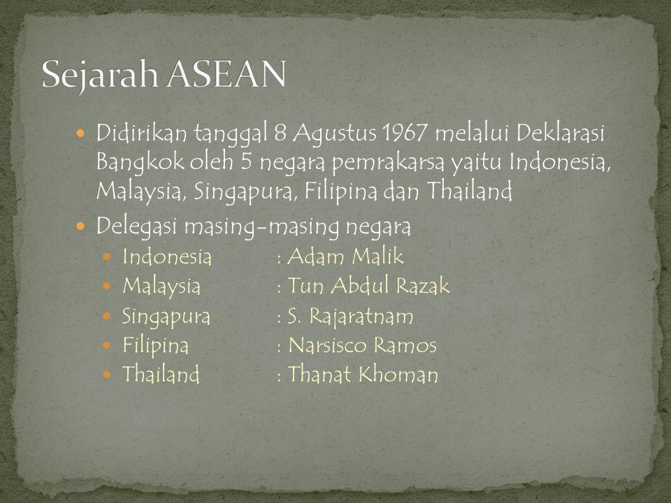  Didirikan tanggal 8 Agustus 1967 melalui Deklarasi Bangkok oleh 5 negara pemrakarsa yaitu Indonesia, Malaysia, Singapura, Filipina dan Thailand  De