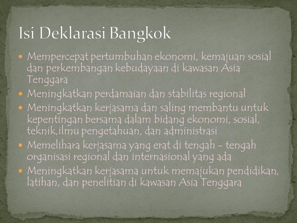  Filipina (negara pendiri)  Indonesia (negara pendiri)  Malaysia (negara pendiri)  Singapura (negara pendiri)  Thailand (negara pendiri)  Brunei Darussalam (7 Januari 1984)  Vietnam (28 Juli 1995)  Laos (23 Juli 1997)  Myanmar (23 Juli 1997)  Kamboja (16 Desember 1998)