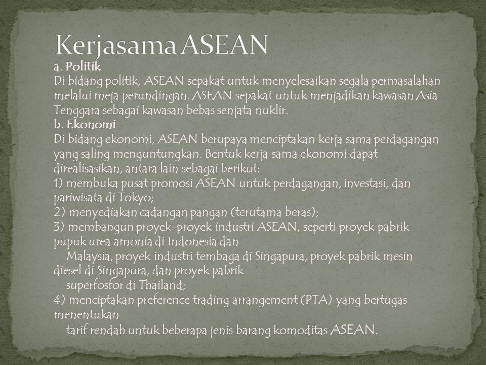 a. Politik Di bidang politik, ASEAN sepakat untuk menyelesaikan segala permasalahan melalui meja perundingan. ASEAN sepakat untuk menjadikan kawasan A