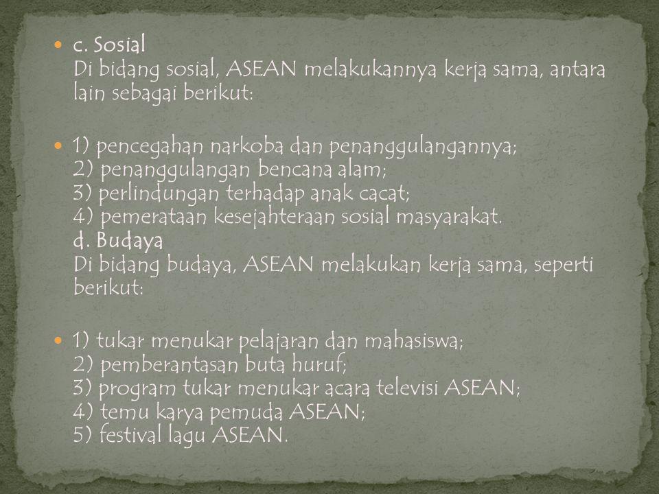  c. Sosial Di bidang sosial, ASEAN melakukannya kerja sama, antara lain sebagai berikut:  1) pencegahan narkoba dan penanggulangannya; 2) penanggula