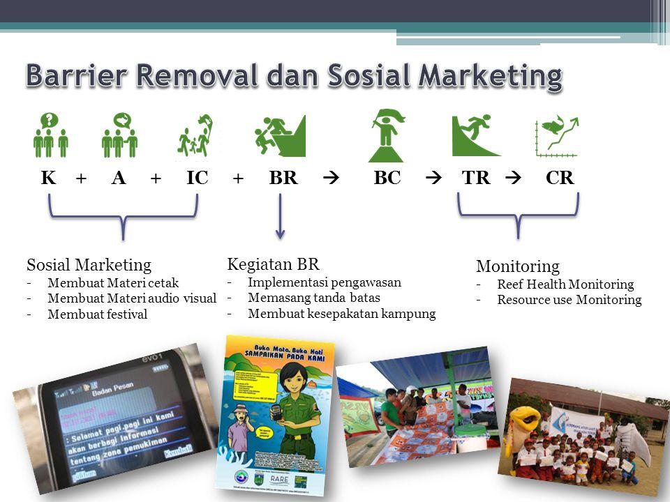 K + A + IC + BR  BC  TR  CR Sosial Marketing -Membuat Materi cetak -Membuat Materi audio visual -Membuat festival Monitoring -Reef Health Monitorin