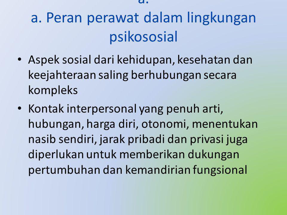a. a. Peran perawat dalam lingkungan psikososial • Aspek sosial dari kehidupan, kesehatan dan keejahteraan saling berhubungan secara kompleks • Kontak