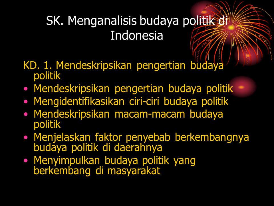 SK. Menganalisis budaya politik di Indonesia KD. 1. Mendeskripsikan pengertian budaya politik •Mendeskripsikan pengertian budaya politik •Mengidentifi