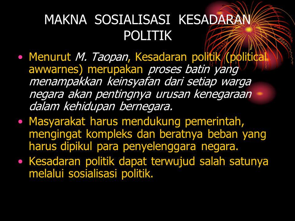 MAKNA SOSIALISASI KESADARAN POLITIK •Menurut M. Taopan, Kesadaran politik (political awwarnes) merupakan proses batin yang menampakkan keinsyafan dari