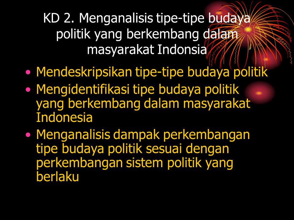 TIPE - TIPE BUDAYA POLITIK •Budaya politik parokial •Budaya politik subjek/kaula •Budaya politik partisipan •Budaya politik subjek-parokial •Budaya politik subjek-partisipan •Budaya politik parokial-partisipan •Civic Culture