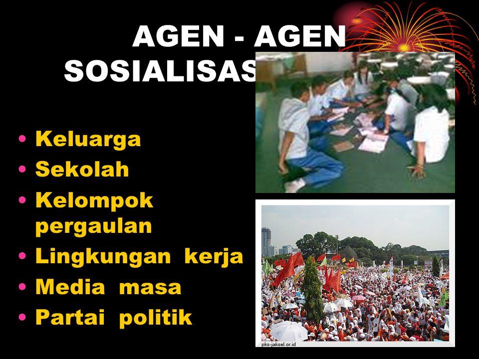 AGEN - AGEN SOSIALISASI POLITIK •Keluarga •Sekolah •Kelompok pergaulan •Lingkungan kerja •Media masa •Partai politik