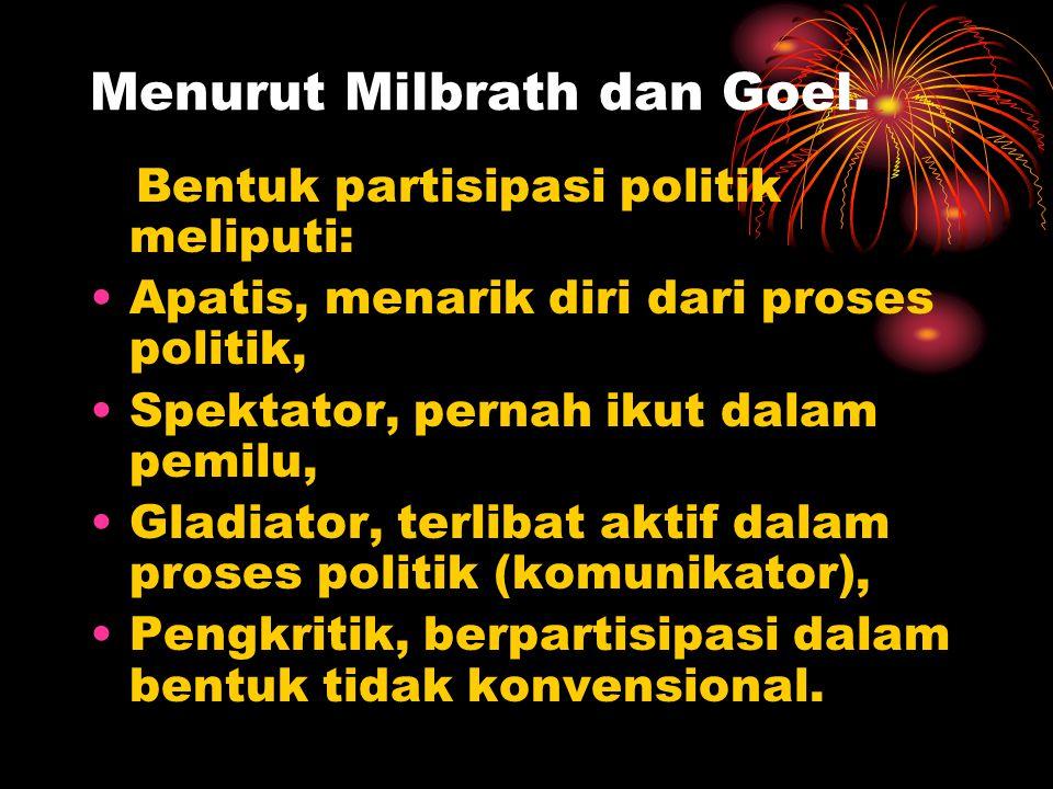 Menurut Milbrath dan Goel. Bentuk partisipasi politik meliputi: •Apatis, menarik diri dari proses politik, •Spektator, pernah ikut dalam pemilu, •Glad