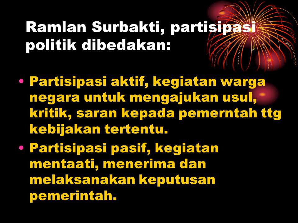 Ramlan Surbakti, partisipasi politik dibedakan: •Partisipasi aktif, kegiatan warga negara untuk mengajukan usul, kritik, saran kepada pemerntah ttg ke