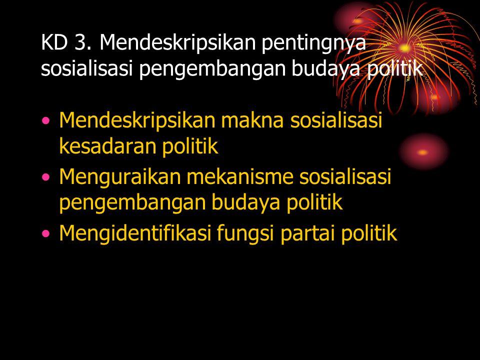 KD 3. Mendeskripsikan pentingnya sosialisasi pengembangan budaya politik •Mendeskripsikan makna sosialisasi kesadaran politik •Menguraikan mekanisme s