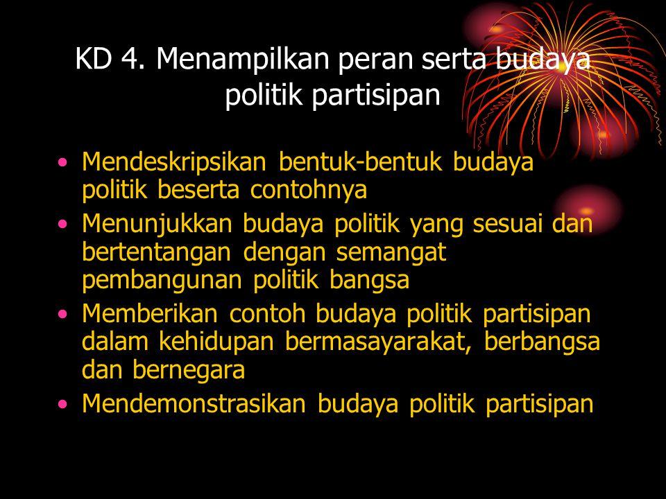 KD 4. Menampilkan peran serta budaya politik partisipan •Mendeskripsikan bentuk-bentuk budaya politik beserta contohnya •Menunjukkan budaya politik ya