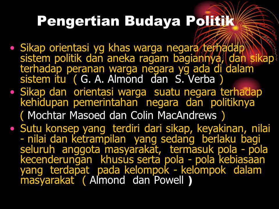 Pengertian Budaya Politik •Sikap orientasi yg khas warga negara terhadap sistem politik dan aneka ragam bagiannya, dan sikap terhadap peranan warga ne