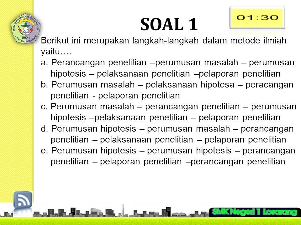 SOAL 2 Berikut ini merupakan contoh hipotesis yaitu...