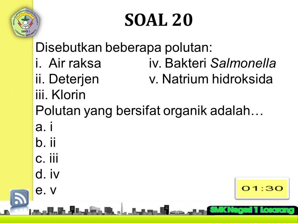 SOAL 20 Disebutkan beberapa polutan: i. Air raksaiv. Bakteri Salmonella ii. Deterjenv. Natrium hidroksida iii. Klorin Polutan yang bersifat organik ad