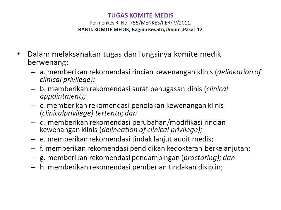 TUGAS KOMITE MEDIS Permenkes RI No. 755/MENKES/PER/IV/2011. BAB II. KOMITE MEDIK, Bagian Kesatu,Umum,Pasal 12 • Dalam melaksanakan tugas dan fungsinya