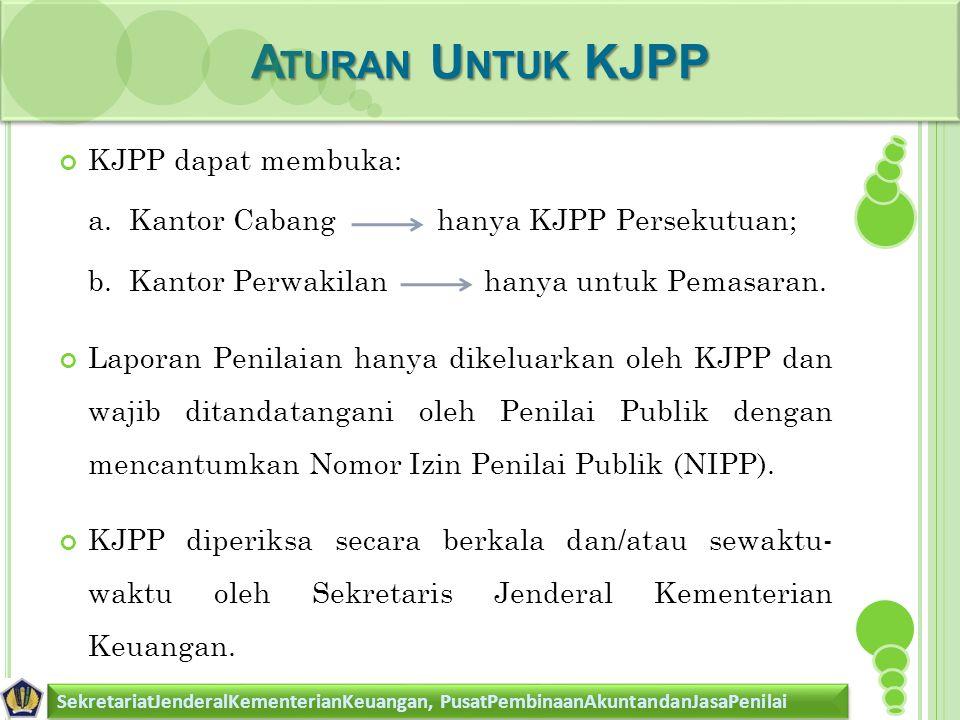 A TURAN U NTUK KJPP SekretariatJenderalKementerianKeuangan, PusatPembinaanAkuntandanJasaPenilai KJPP dapat membuka: a. Kantor Cabang hanya KJPP Persek