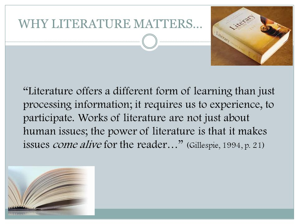 "WHY LITERATURE MATTERS… ""Literature offers a different form of learning than just processing information; it requires us to experience, to participate"