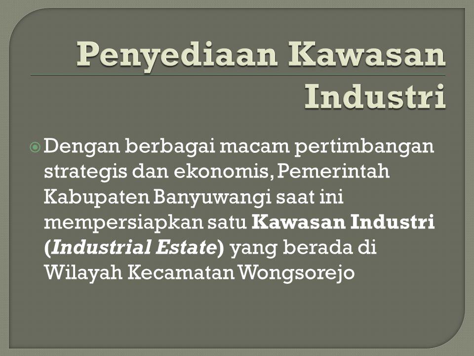 Dengan berbagai macam pertimbangan strategis dan ekonomis, Pemerintah Kabupaten Banyuwangi saat ini mempersiapkan satu Kawasan Industri (Industrial Estate) yang berada di Wilayah Kecamatan Wongsorejo