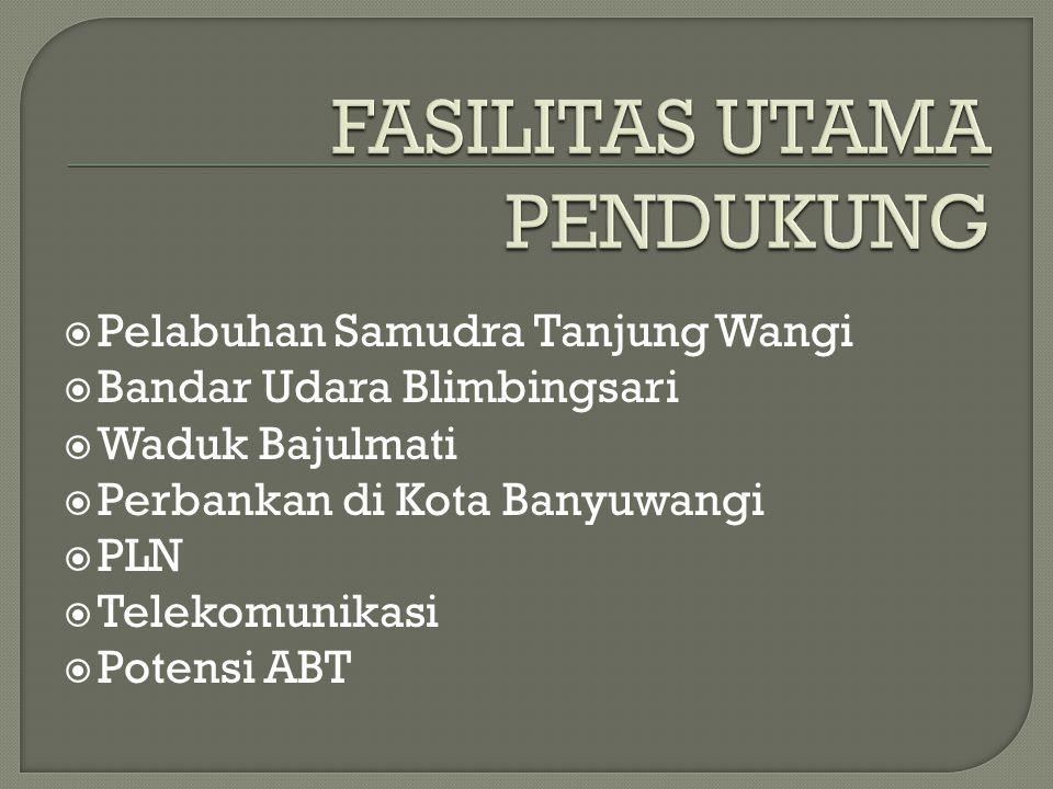  Pelabuhan Samudra Tanjung Wangi  Bandar Udara Blimbingsari  Waduk Bajulmati  Perbankan di Kota Banyuwangi  PLN  Telekomunikasi  Potensi ABT