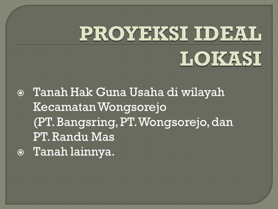 Tanah Hak Guna Usaha di wilayah Kecamatan Wongsorejo (PT.