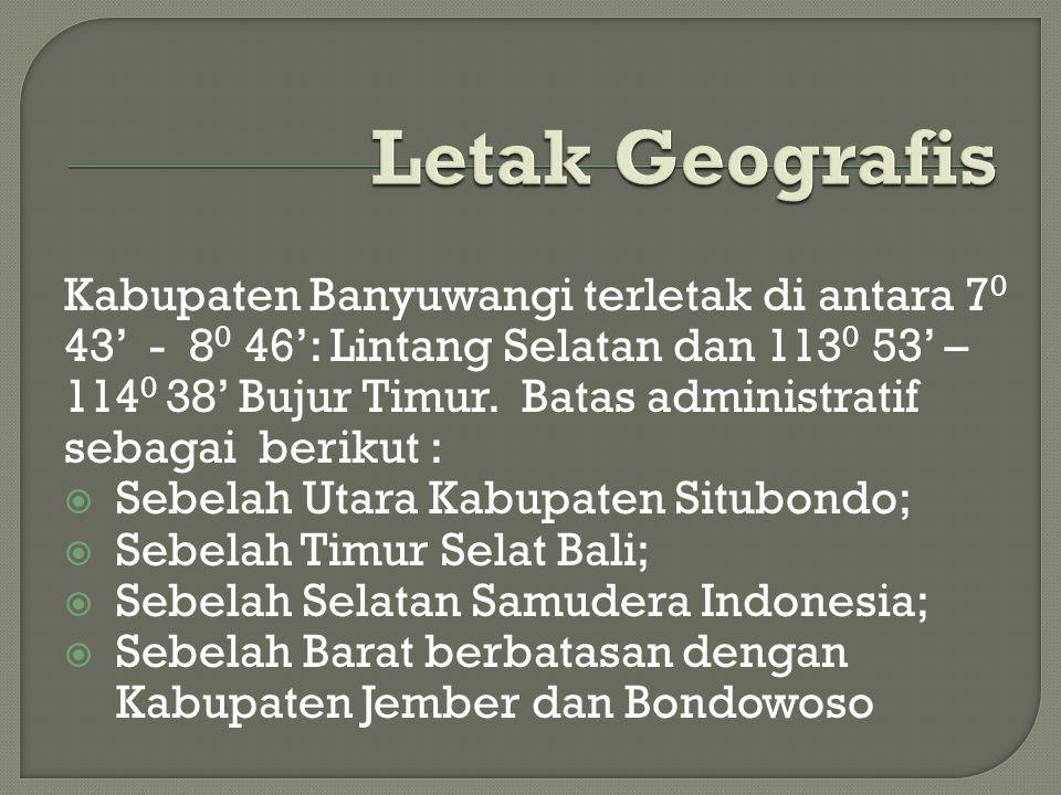 Kabupaten Banyuwangi terletak di antara 7 0 43' - 8 0 46': Lintang Selatan dan 113 0 53' – 114 0 38' Bujur Timur.
