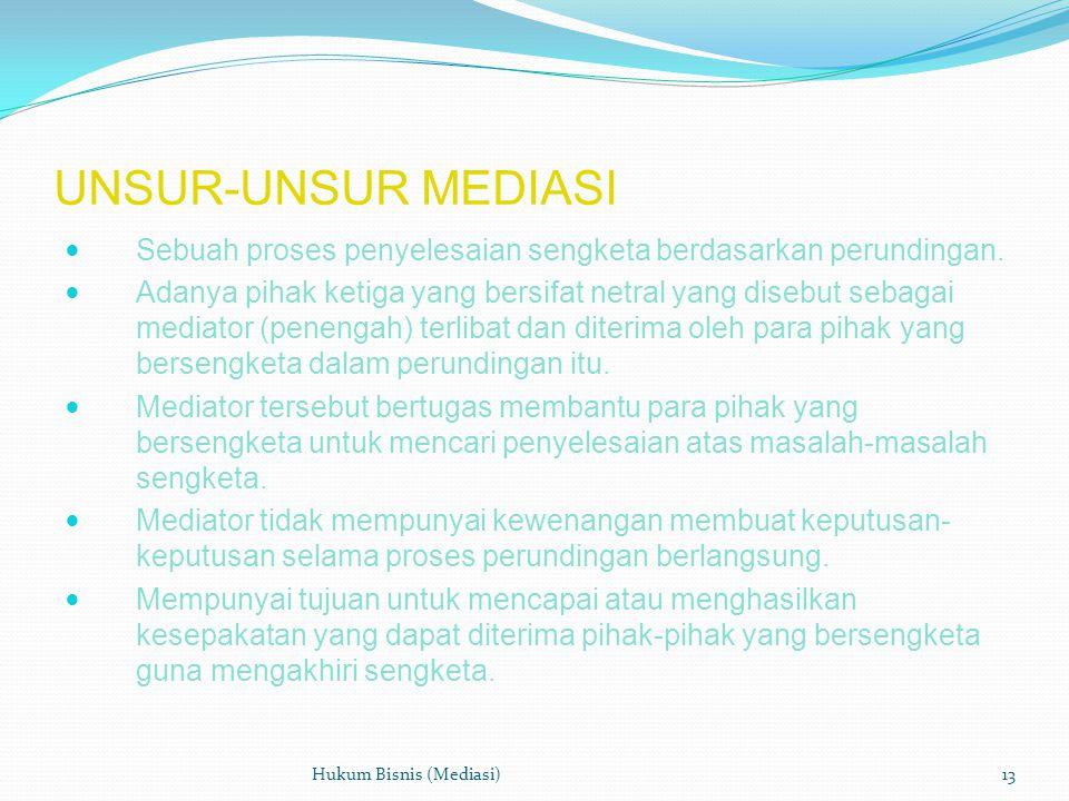 UNSUR-UNSUR MEDIASI  Sebuah proses penyelesaian sengketa berdasarkan perundingan.  Adanya pihak ketiga yang bersifat netral yang disebut sebagai med