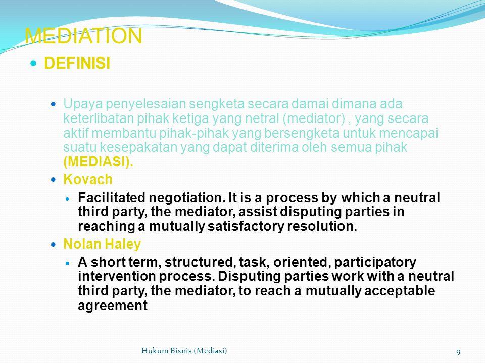 MEDIATION  DEFINISI  Upaya penyelesaian sengketa secara damai dimana ada keterlibatan pihak ketiga yang netral (mediator), yang secara aktif membantu pihak-pihak yang bersengketa untuk mencapai suatu kesepakatan yang dapat diterima oleh semua pihak (MEDIASI).