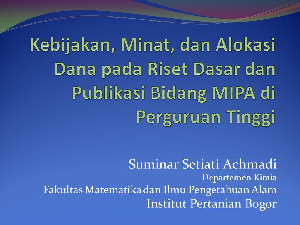 Suminar Setiati Achmadi Departemen Kimia Fakultas Matematika dan Ilmu Pengetahuan Alam Institut Pertanian Bogor