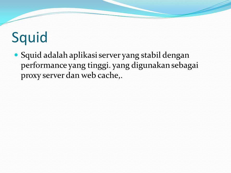 Squid  Squid adalah aplikasi server yang stabil dengan performance yang tinggi. yang digunakan sebagai proxy server dan web cache,.